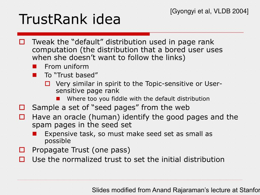 TrustRank idea