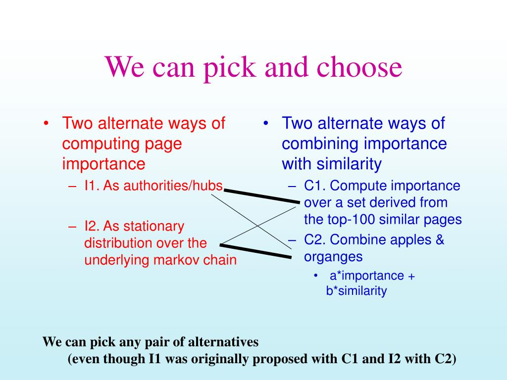 Two alternate ways of computing page importance
