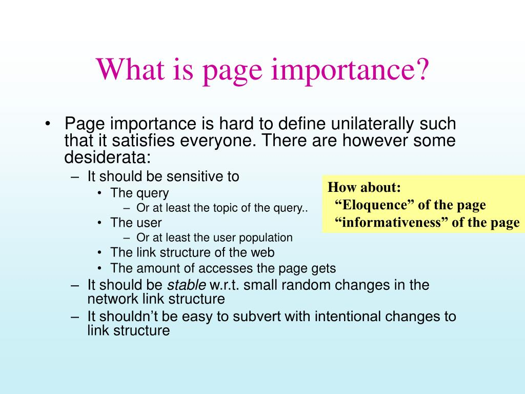 what is page importance l.