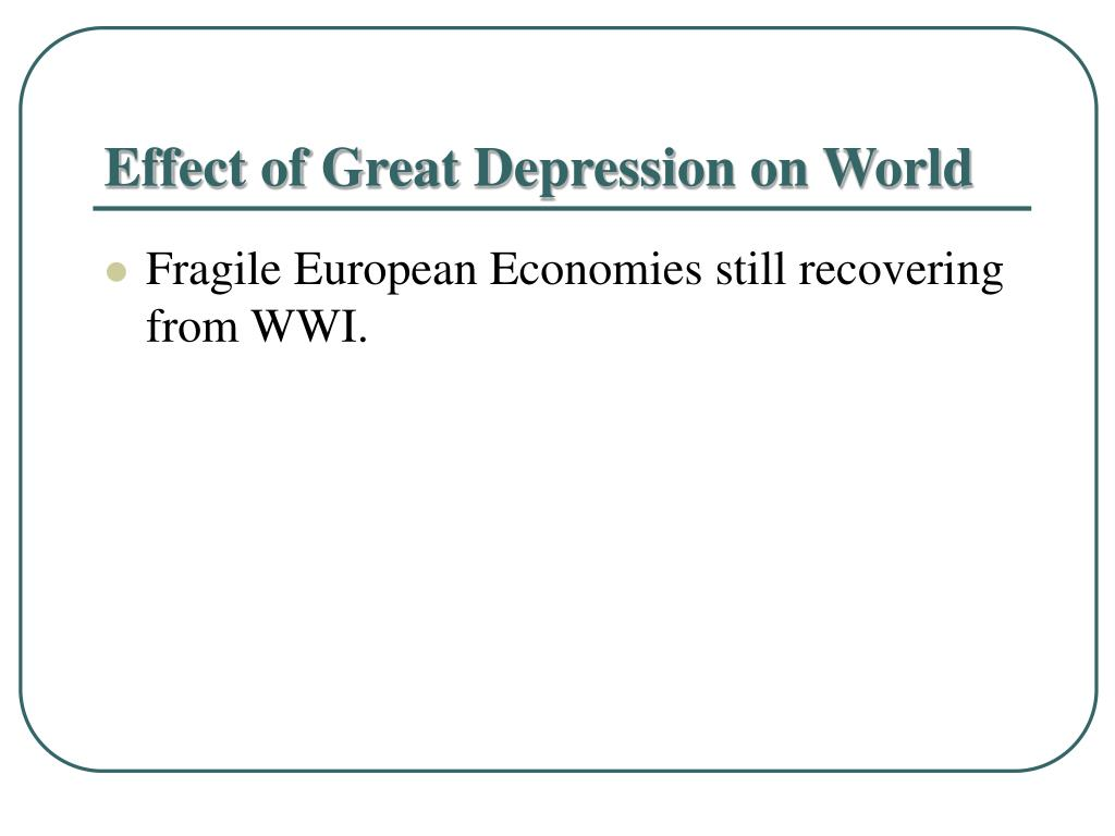 Effect of Great Depression on World
