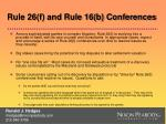 rule 26 f and rule 16 b conferences