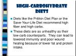 high carbohydrate diets