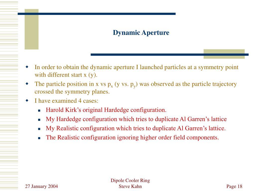 Dynamic Aperture