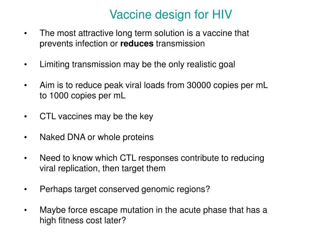 Vaccine design for HIV