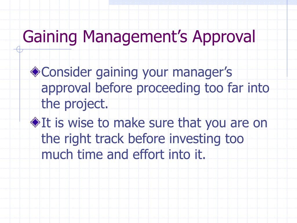 Gaining Management's Approval
