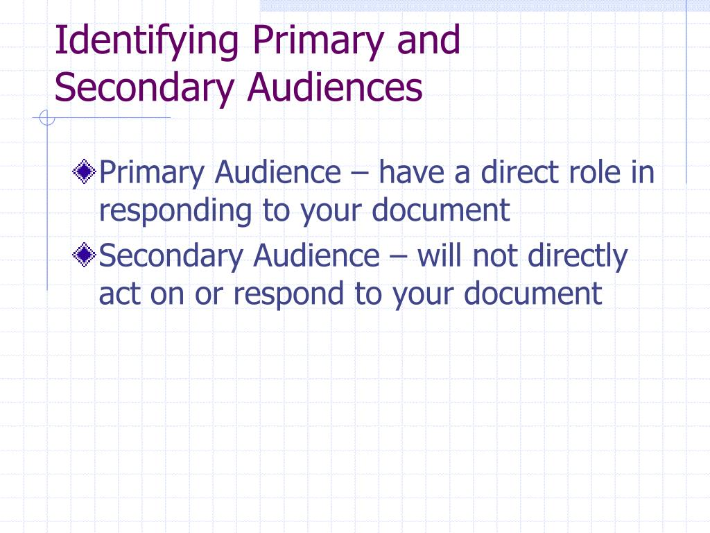 Identifying Primary and Secondary Audiences
