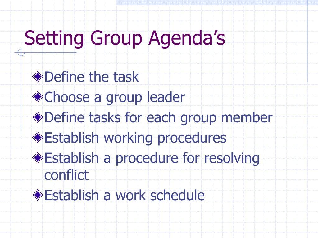 Setting Group Agenda's