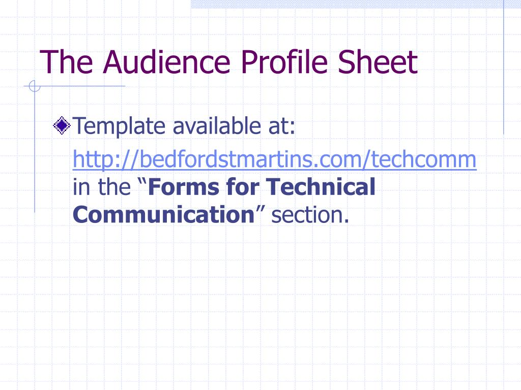 The Audience Profile Sheet