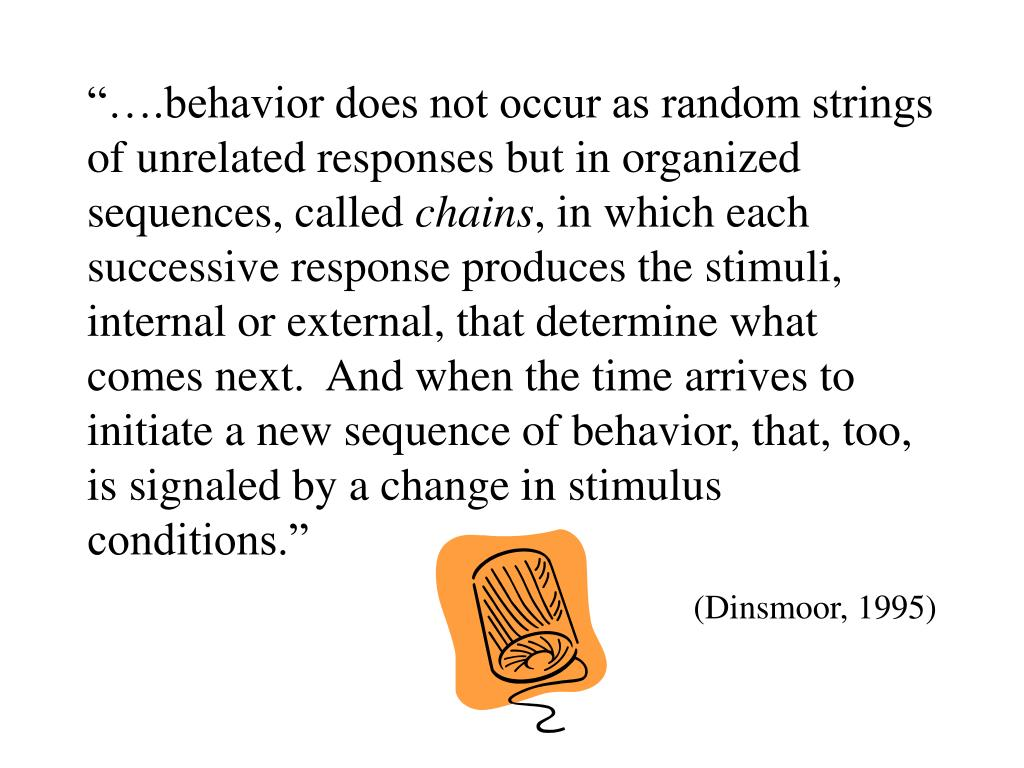 """….behavior does not occur as random strings of unrelated responses but in organized sequences, called"