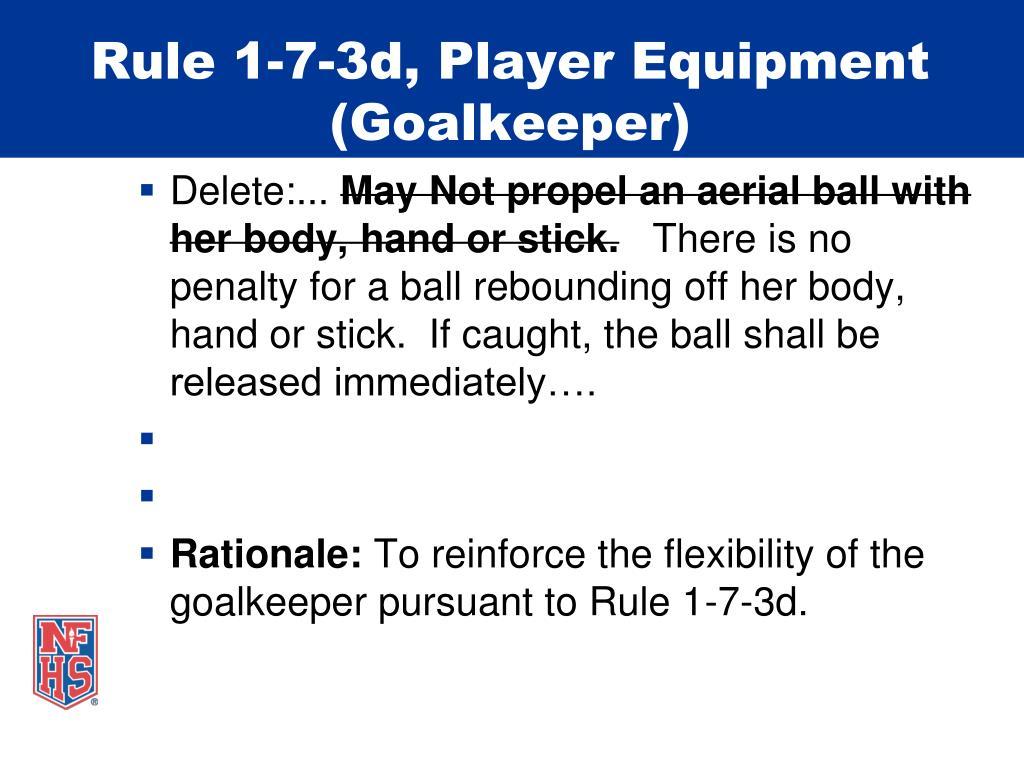 Rule 1-7-3d, Player Equipment (Goalkeeper)