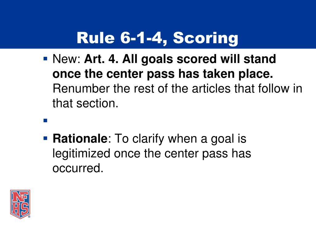 Rule 6-1-4, Scoring