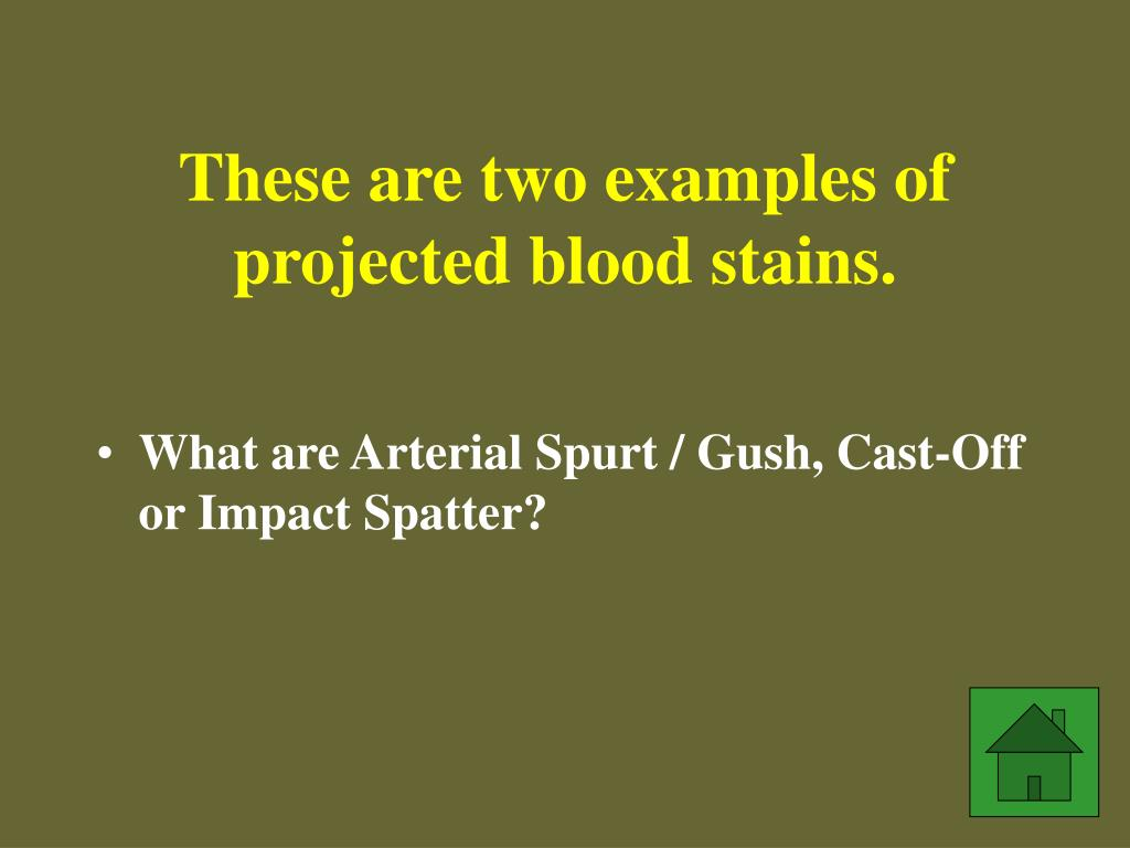 These are two examples of projected blood stains.