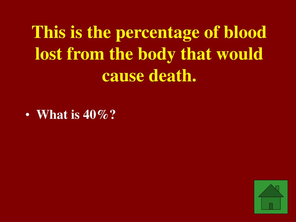 This is the percentage of blood lost from the body that would cause death.