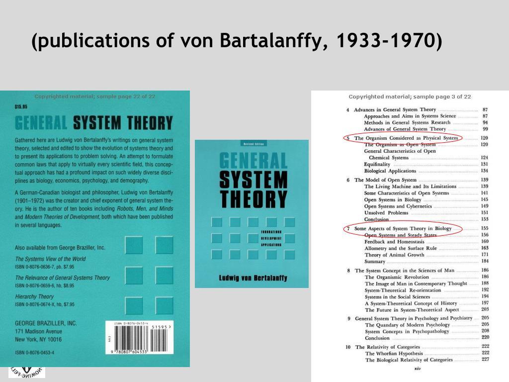 (publications of von Bartalanffy, 1933-1970)