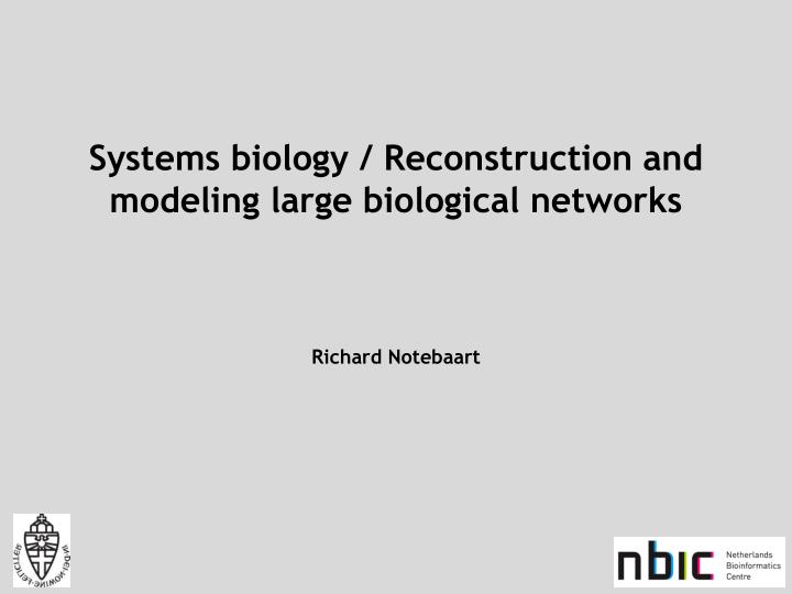 Systems biology reconstruction and modeling large biological networks