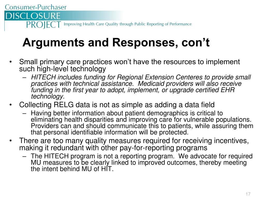 Arguments and Responses, con't