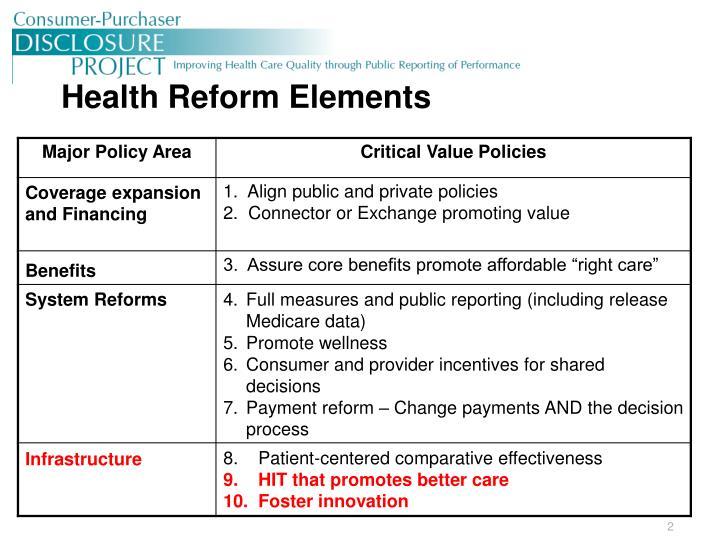 Health reform elements