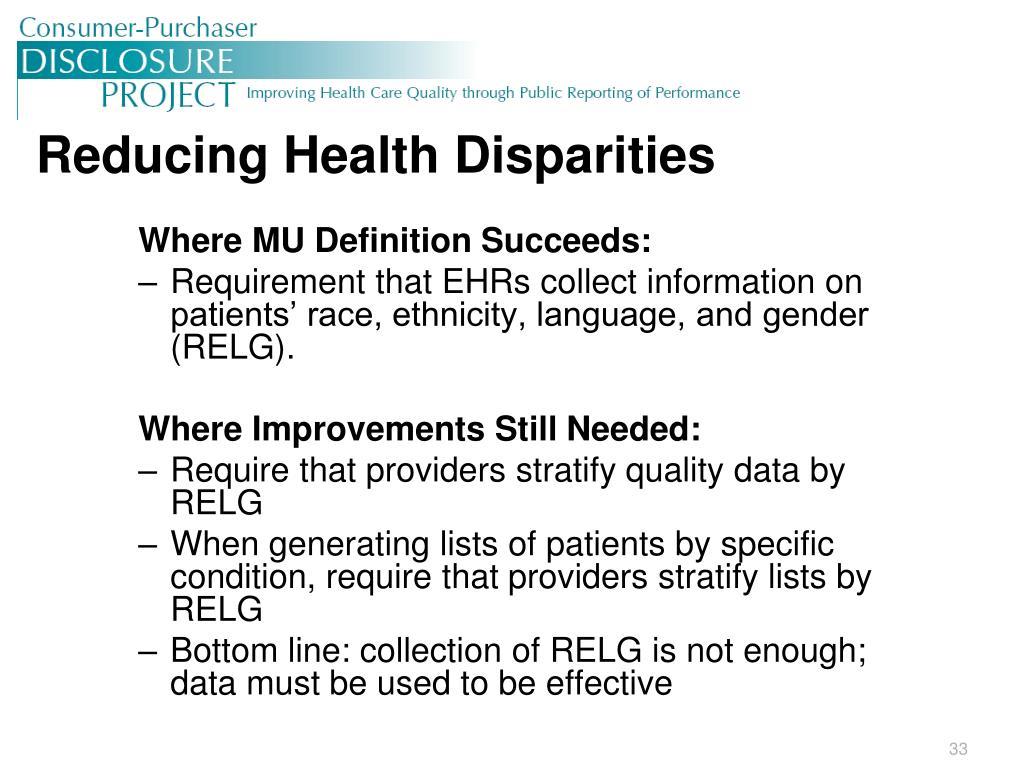 Reducing Health Disparities