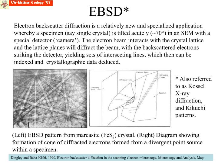 Electron backscatter diffraction is a relatively new and specialized application whereby a specimen (say single crystal) is tilted acutely (~70°) in an SEM with a special detector ('camera'). The electron beam interacts with the crystal lattice and the lattice planes will diffract the beam, with the backscattered electrons striking the detector, yielding sets of intersecting lines, which then can be indexed and  crystallographic data deduced.