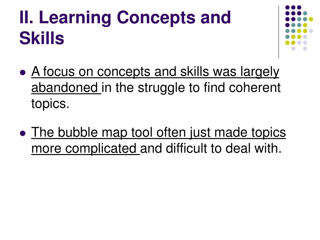 II. Learning Concepts and Skills