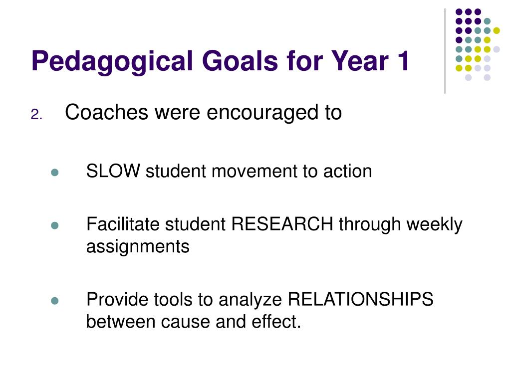Pedagogical Goals for Year 1