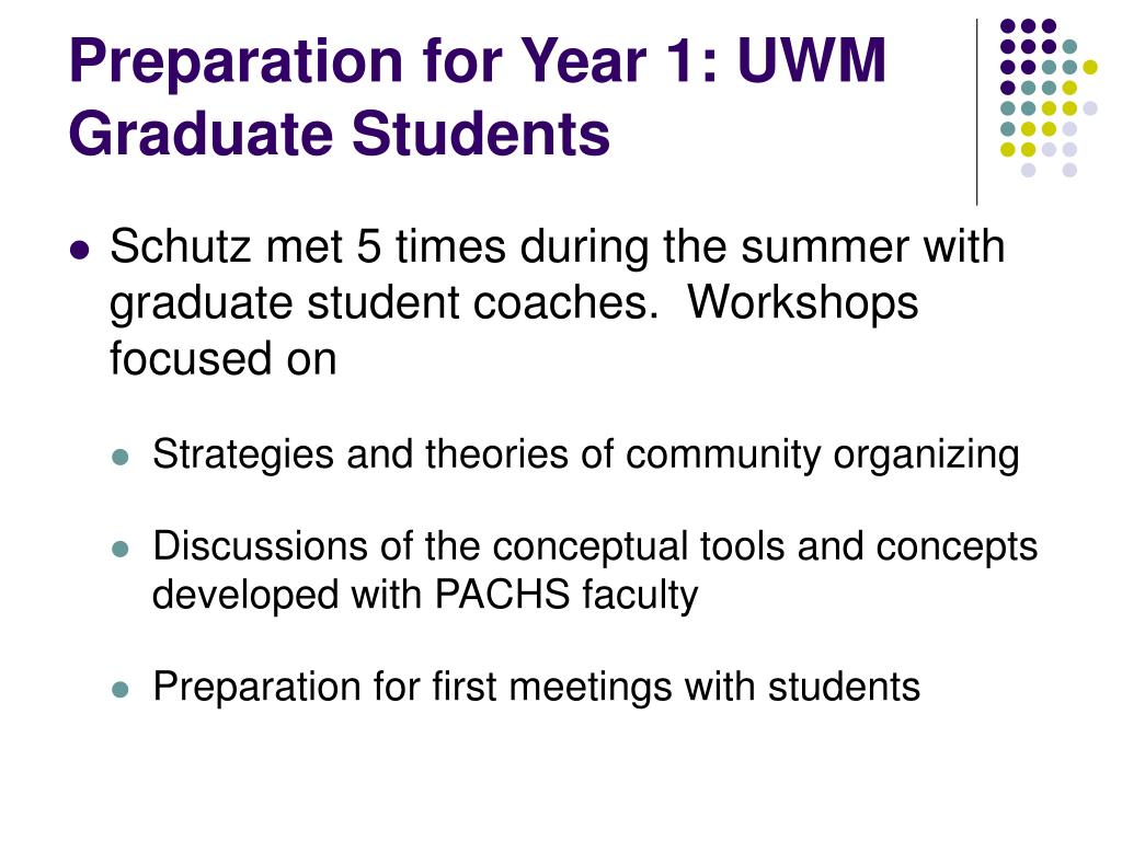 Preparation for Year 1: UWM Graduate Students