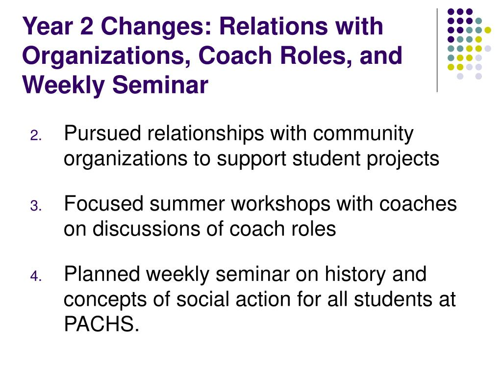 Year 2 Changes: Relations with Organizations, Coach Roles, and Weekly Seminar
