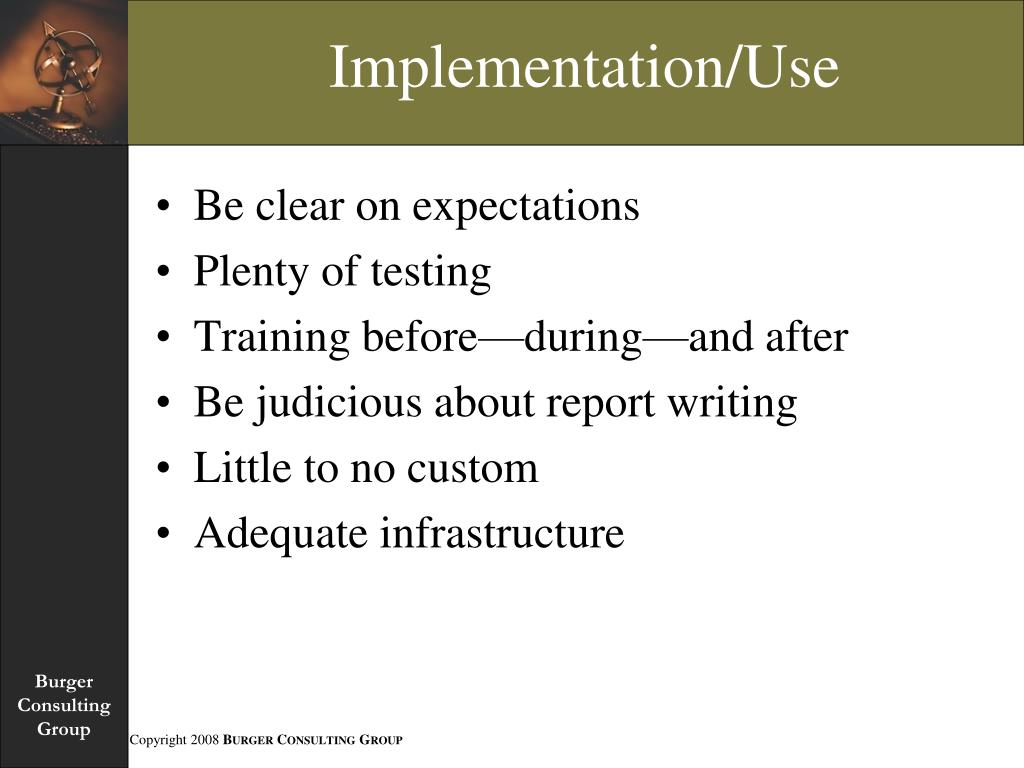 Implementation/Use
