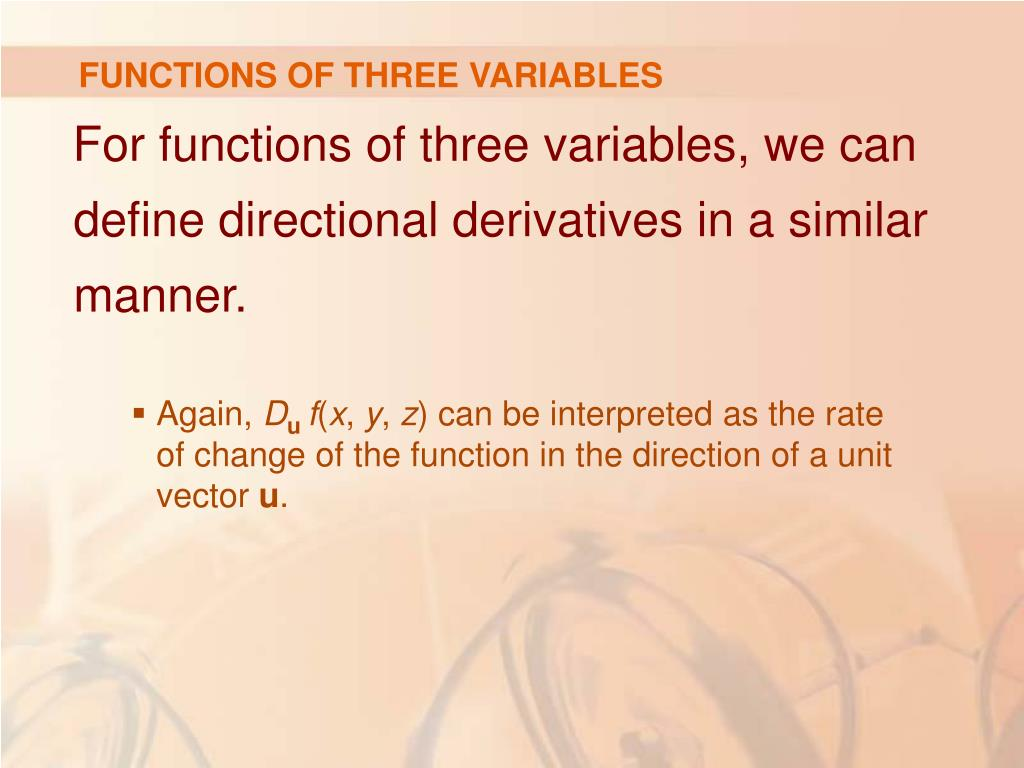 FUNCTIONS OF THREE VARIABLES