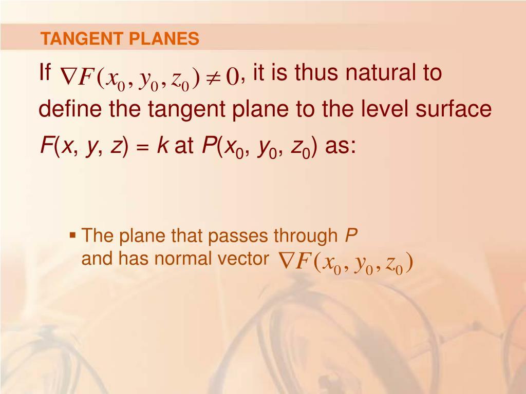 TANGENT PLANES