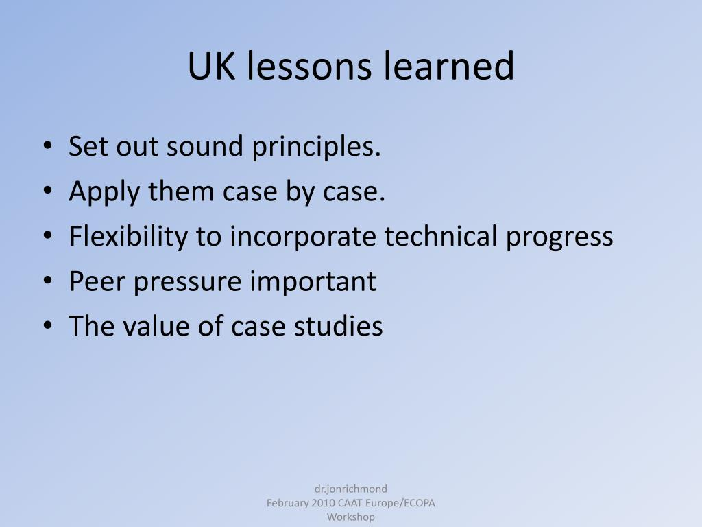 UK lessons learned