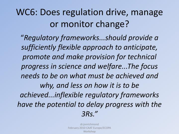 Wc6 does regulation drive manage or monitor change