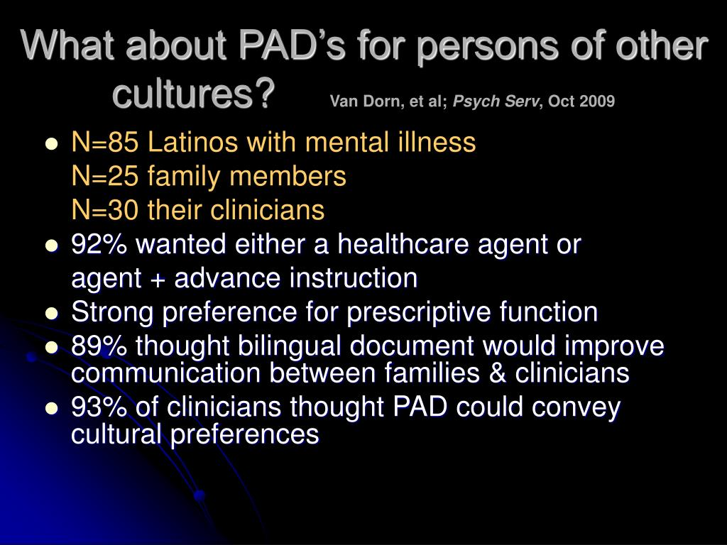 What about PAD's for persons of other cultures?