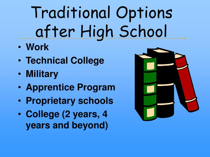 college options after high school After high school: different paths to success by victoria college, vocational programs here are the most common options for life after high school.