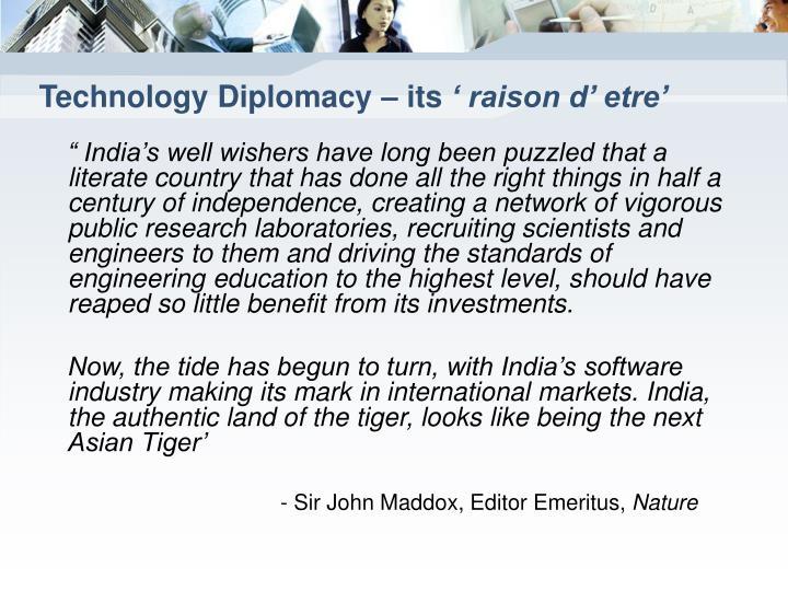 Technology diplomacy its raison d etre
