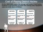 cost of playing district hockey