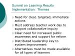 summit on learning results implementation themes