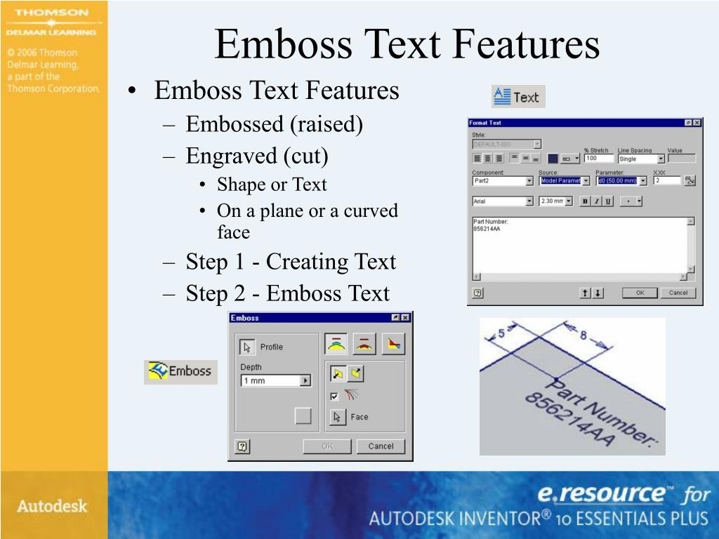 Emboss Text Features