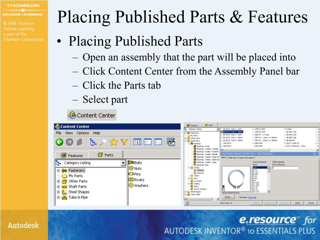 Placing Published Parts & Features