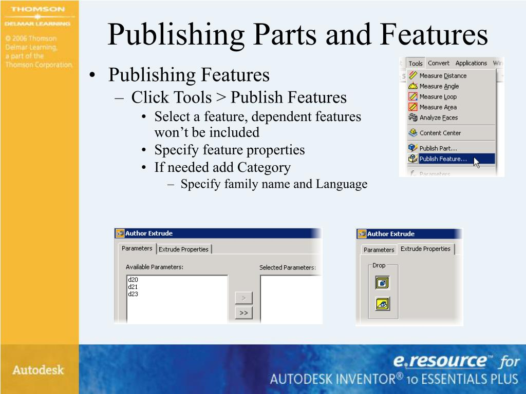 Publishing Parts and Features