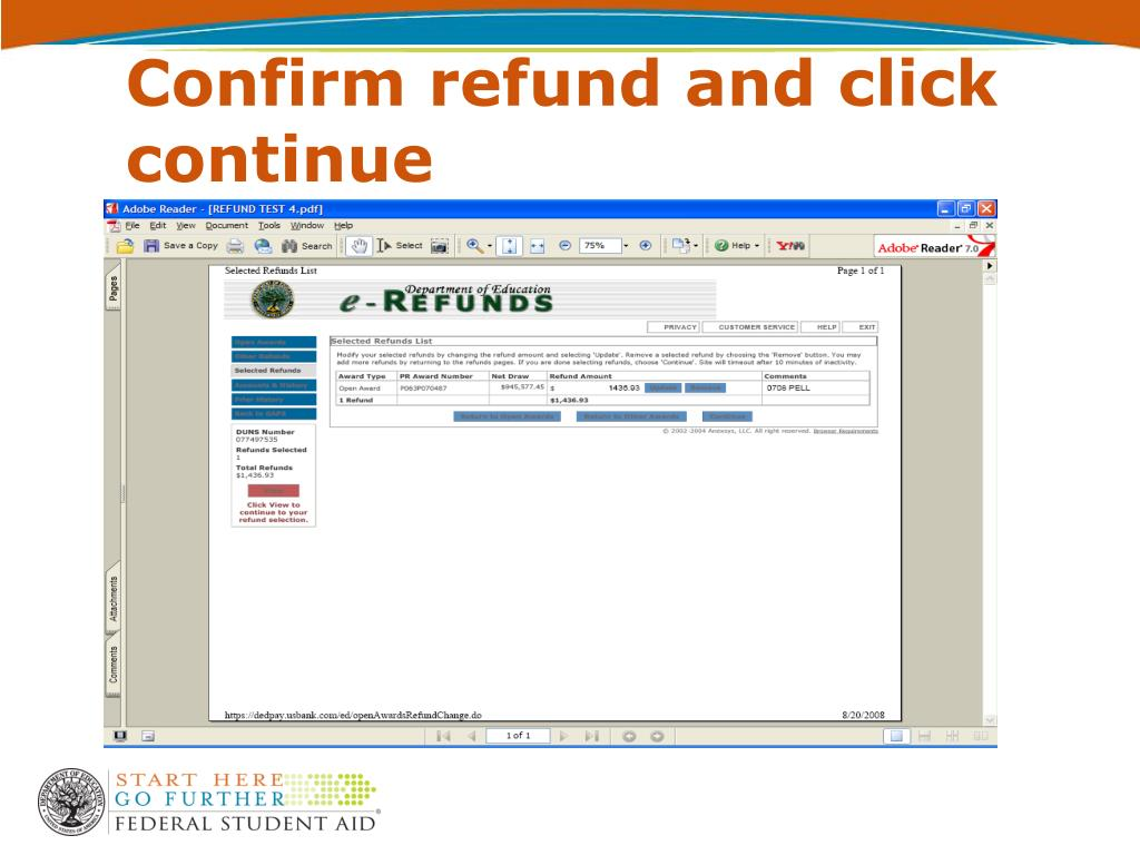 Confirm refund and click continue