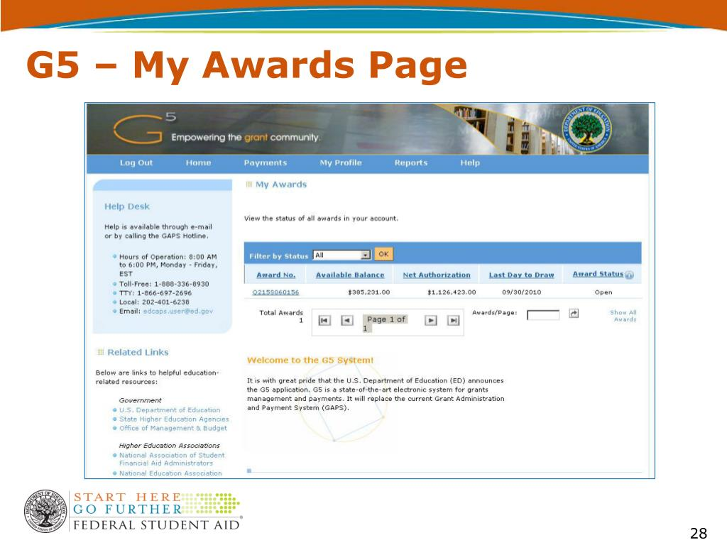 G5 – My Awards Page