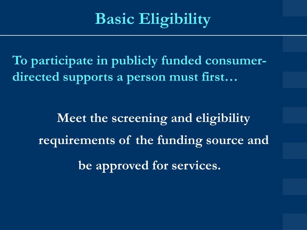 Basic Eligibility