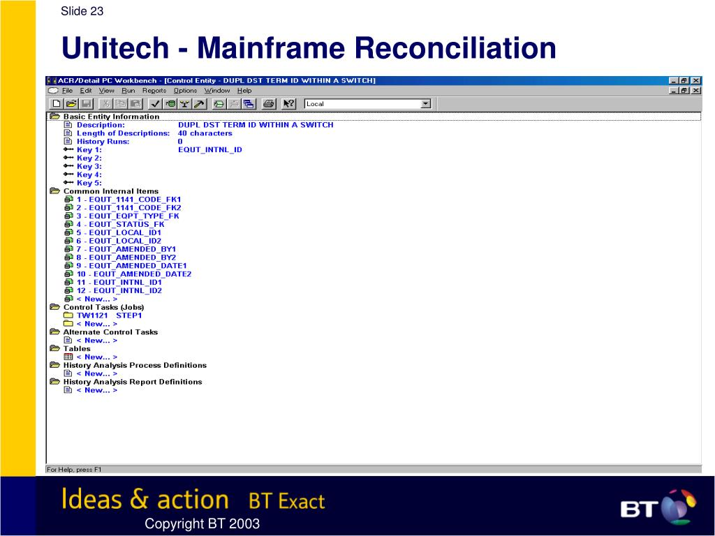 Unitech - Mainframe Reconciliation