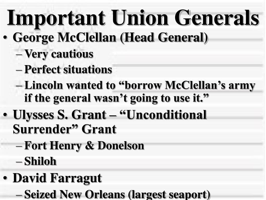 Important Union Generals