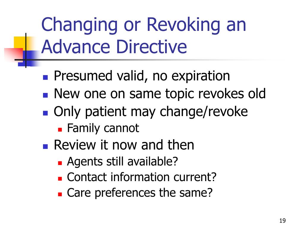 Changing or Revoking an Advance Directive