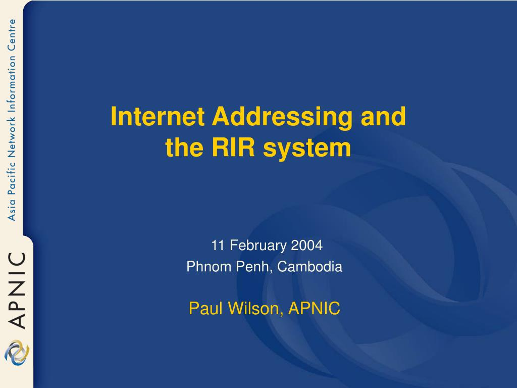 internet addressing and the rir system l.