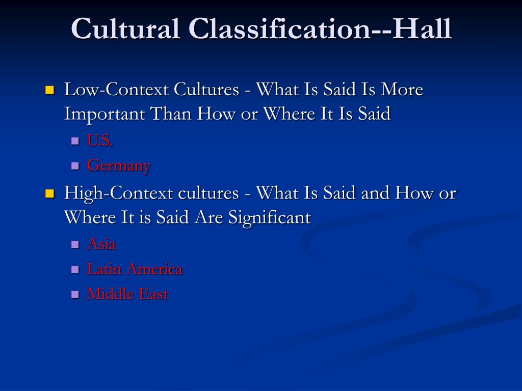 Cultural Classification--Hall
