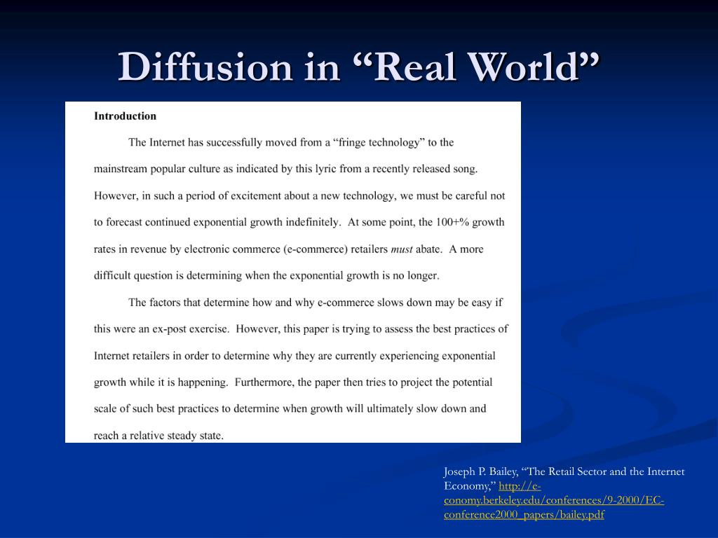 """Diffusion in """"Real World"""""""