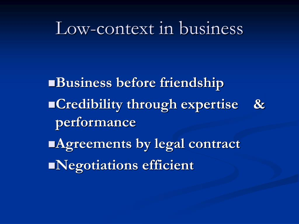 Low-context in business